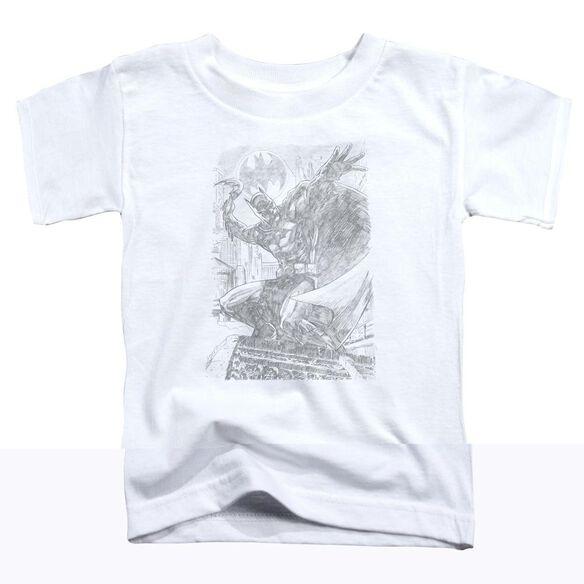 BATMAN PENCIL BATARANG THROW - S/S TODDLER TEE - WHITE - T-Shirt