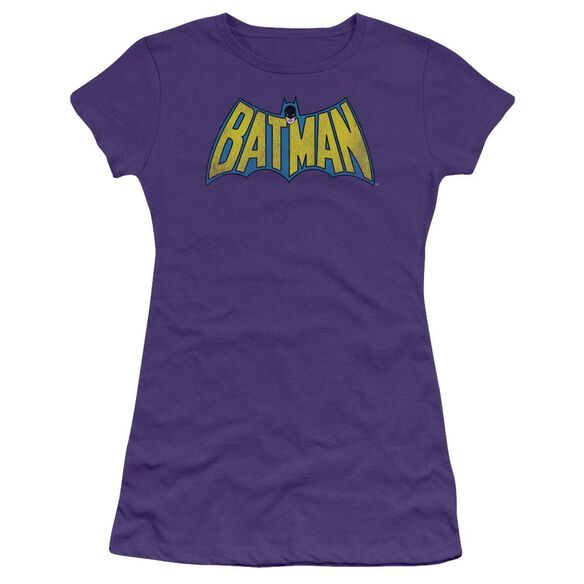 Dc Classic Batman Logo Distressed Short Sleeve Junior Sheer T-Shirt