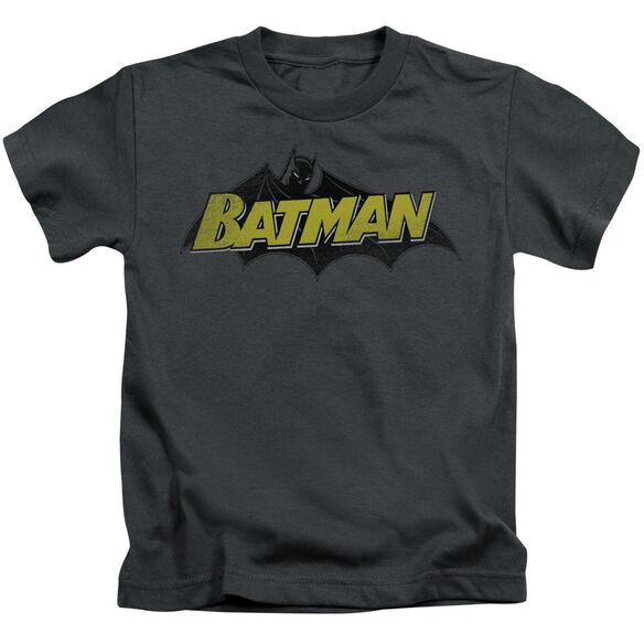 Batman Classic Comic Logo Short Sleeve Juvenile Charcoal T-Shirt