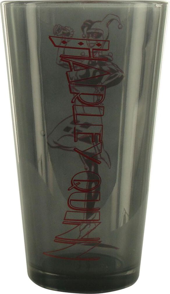 Harley Quinn Outline Gray Pint Glass Fye