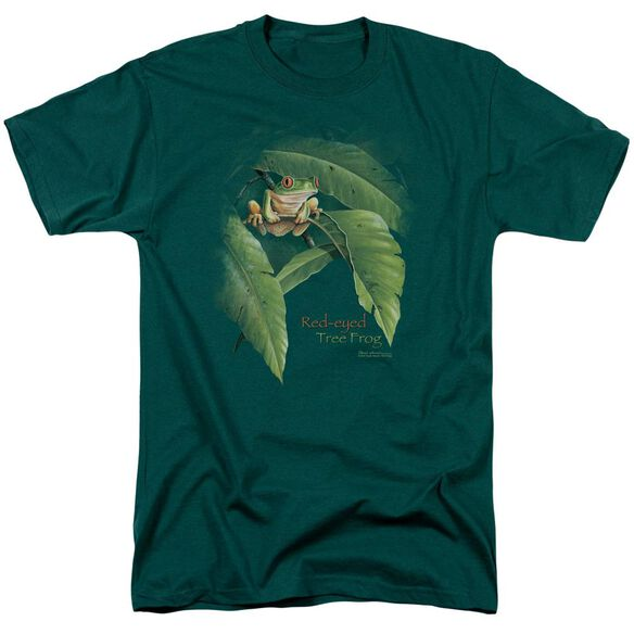 Wildlife Red Eyed Tree Frog Short Sleeve Adult Hunter Green T-Shirt