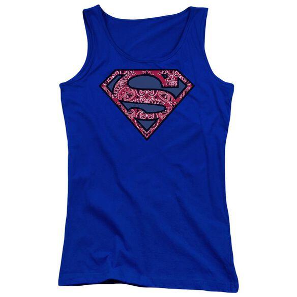 Superman Paisley Shield Juniors Tank Top Royal