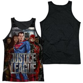 Justice League Movie The League Adult Poly Tank Top Black Back