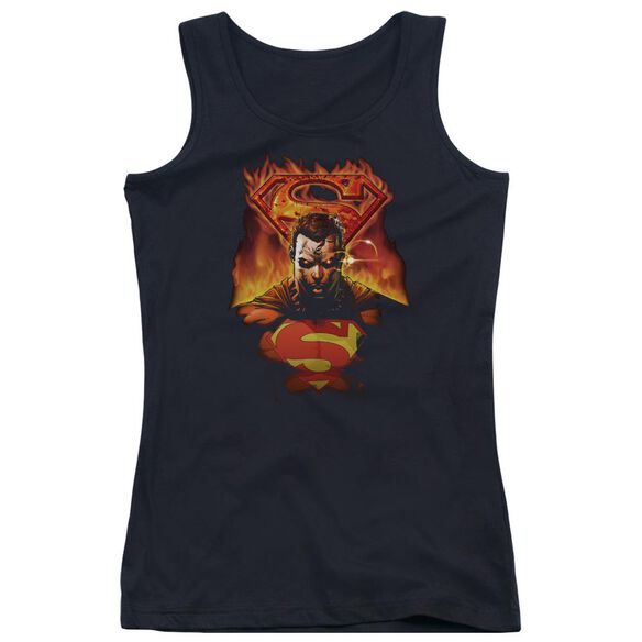 Superman Man On Fire Juniors Tank Top