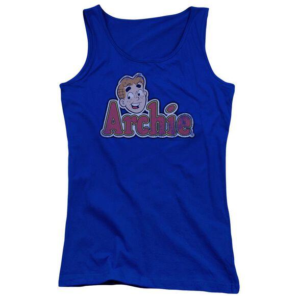 Archie Comics Distressed Archie Logo Juniors Tank Top Royal