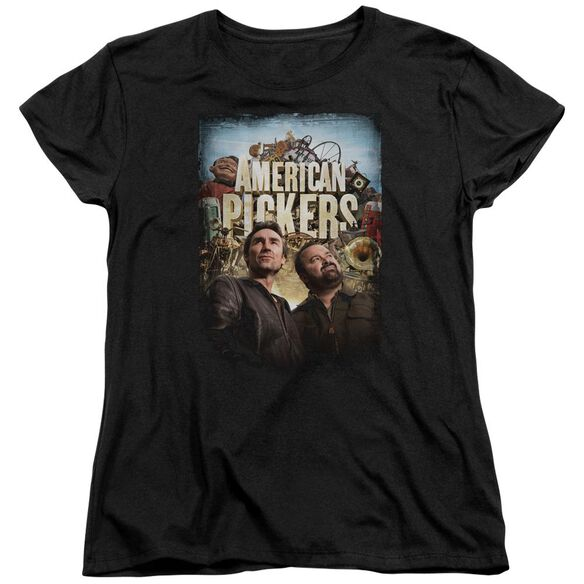 American Pickers Picker Poster Short Sleeve Womens Tee Black T-Shirt