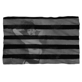 Bettie Page Black Stripes Fleece Blanket
