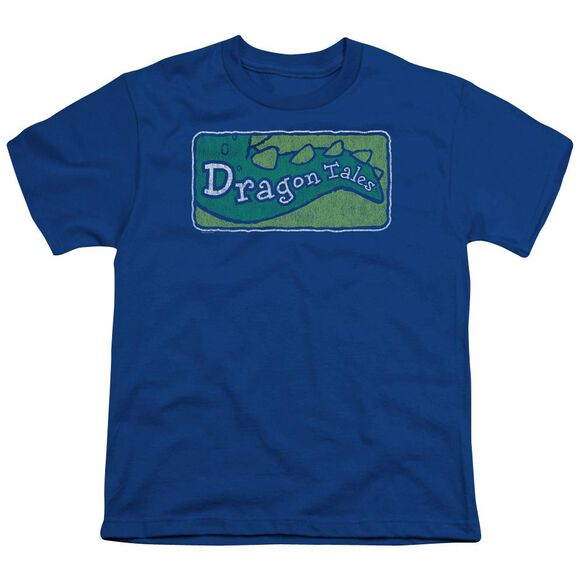 Dragon Tales Logo Distressed Short Sleeve Youth Royal T-Shirt