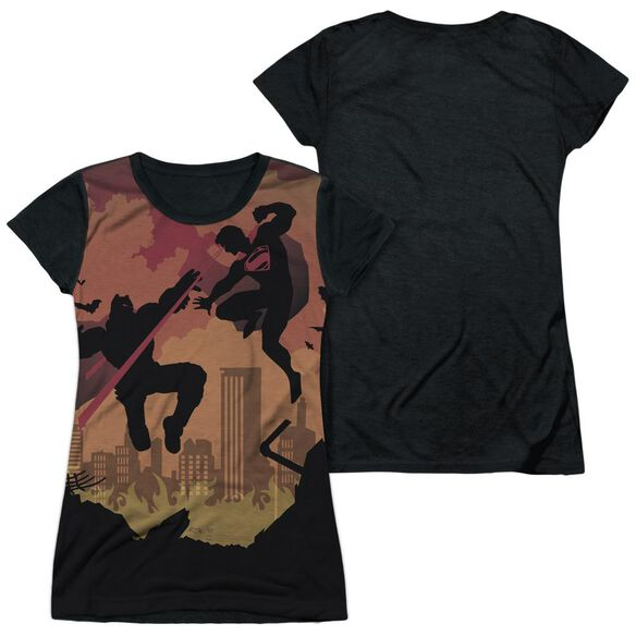 Batman V Superman Silhouette Fight Short Sleeve Junior Poly Black Back T-Shirt