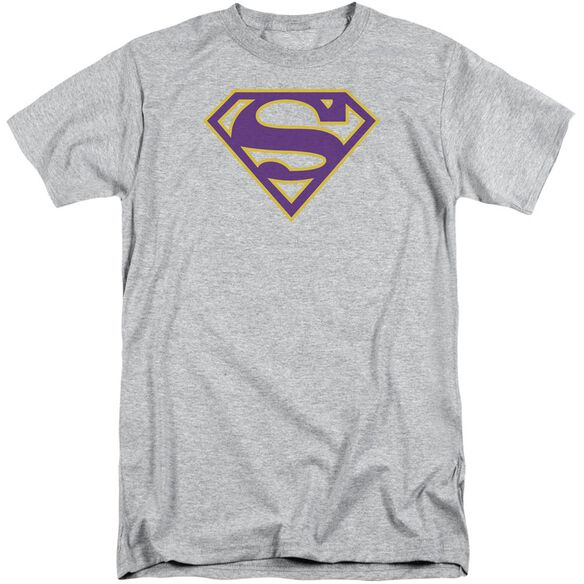 Superman Purple & Gold Shield Short Sleeve Adult Tall Athletic T-Shirt