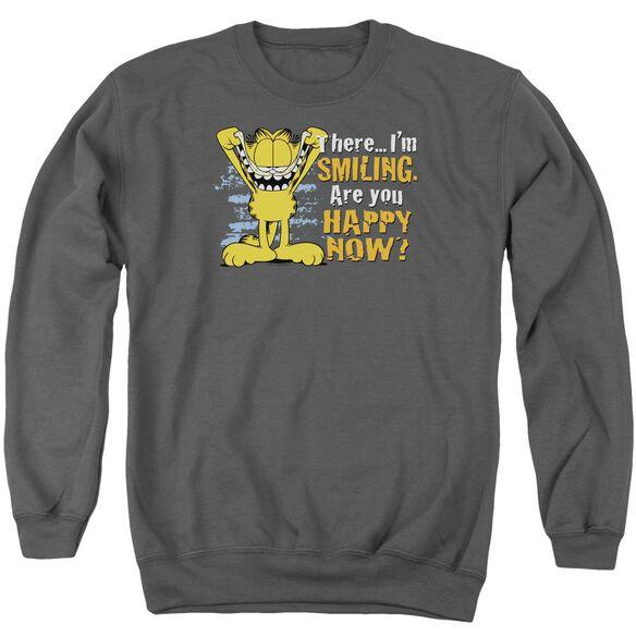 Garfield Smiling - Adult Crewneck Sweatshirt - Charcoal