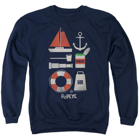 Popeye Items - Adult Crewneck Sweatshirt - Navy
