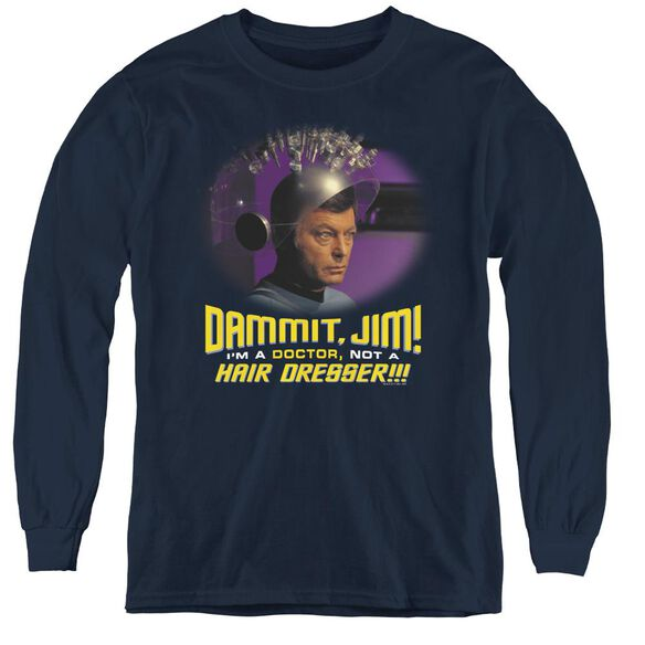Star Trek Not A Hair Dresser - Youth Long Sleeve Tee - Navy