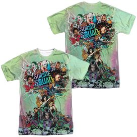 Suicide Squad Psychedelic Cartoon (Front Back Print) Short Sleeve Adult Poly Crew T-Shirt