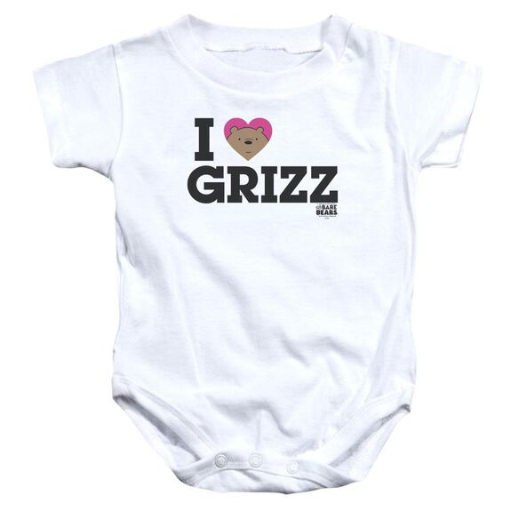 We Bare Bears Heart Grizz Infant Snapsuit White