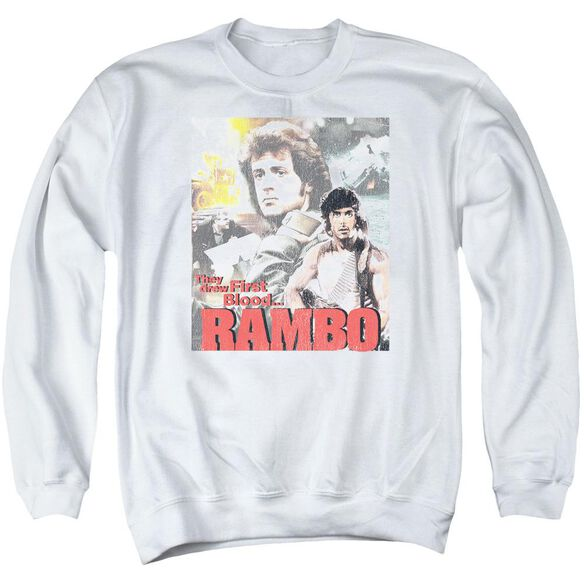 Rambo:First Blood They Drew Collage Adult Crewneck Sweatshirt