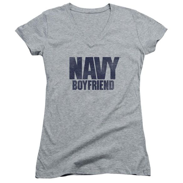 Navy Boyfriend Junior V Neck Athletic T-Shirt