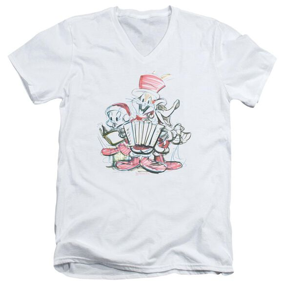 Looney Tunes Holiday Sketch Short Sleeve Adult V Neck T-Shirt