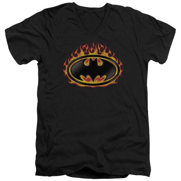 Batman Bat Flames Shield Short Sleeve Adult V Neck T-Shirt