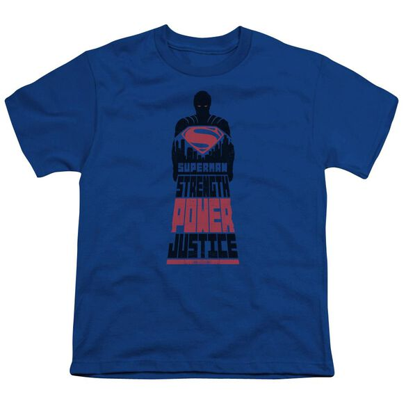 Batman V Superman Super Justice Short Sleeve Youth Royal T-Shirt
