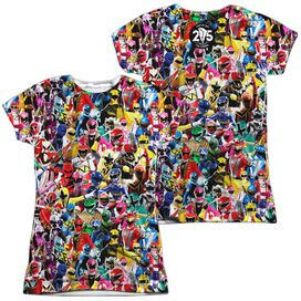 Power Rangers Crowd Of Rangers (Front Back Print) Short Sleeve Junior Poly Crew T-Shirt