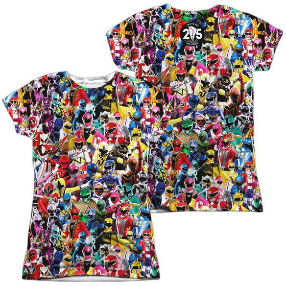 Power Rangers Crowd Of Rangers (Front Back Print) Short Sleeve Junior Poly Crew T-Shirt