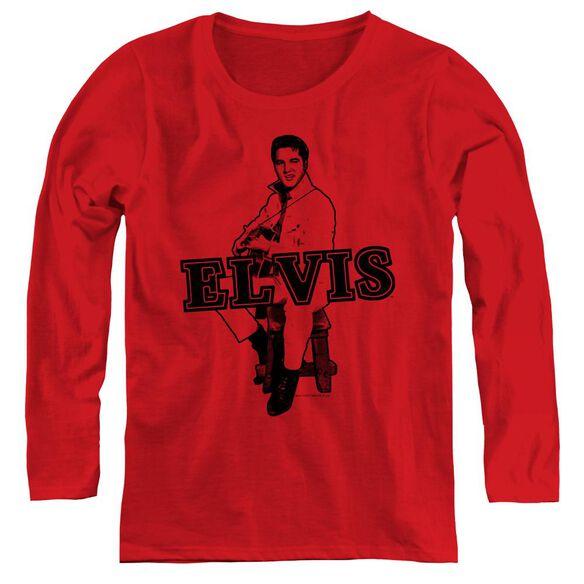 Elvis Presley Jamming - Womens Long Sleeve Tee - Red