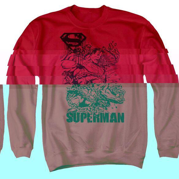 Superman Breaking Chains - Adult Crewneck Sweatshirt - Red