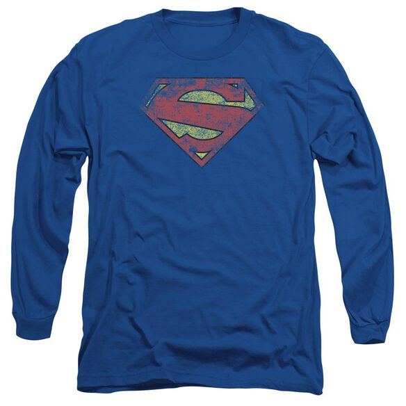 Superman New 52 Shield Long Sleeve Adult Royal T-Shirt