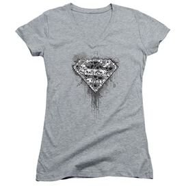 Superman Many Super Skulls - Junior V-neck - Athletic Heather