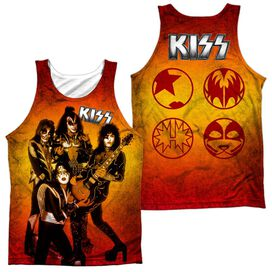 Kiss Fire Pose (Front/back Print) - Adult 100% Poly Tank Top - White
