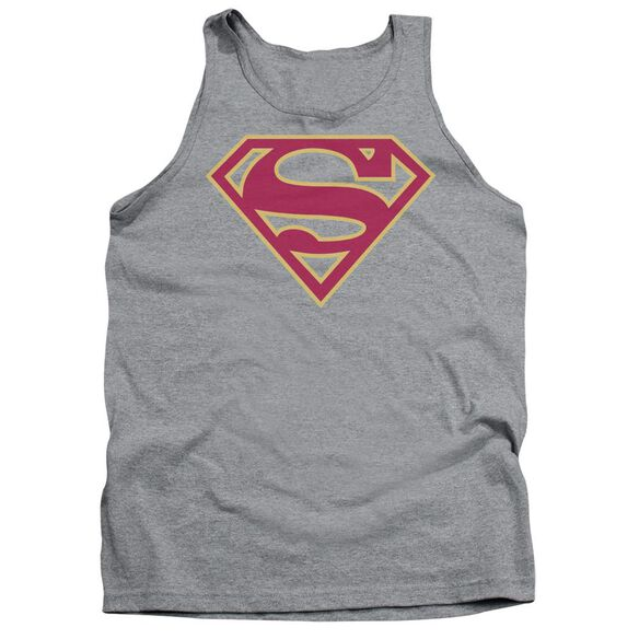 Superman Red & Gold Shield Adult Tank Athletic