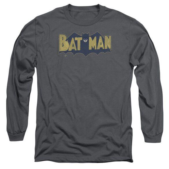 Batman Vintage Logo Splatter Long Sleeve Adult T-Shirt