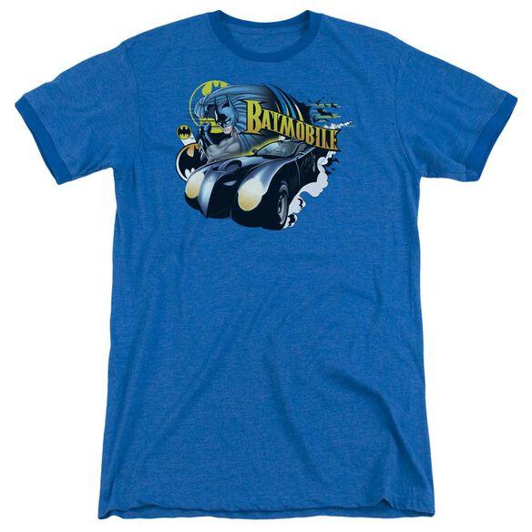 Batman Batmobile Adult Heather Ringer Royal Blue