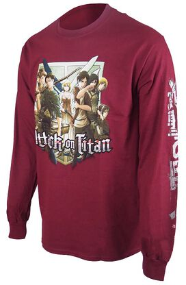 Attack on Titan Group With Crest Long Sleeve T-Shirt