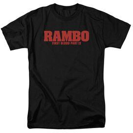 Rambo:First Blood Ii Logo Short Sleeve Adult Black T-Shirt