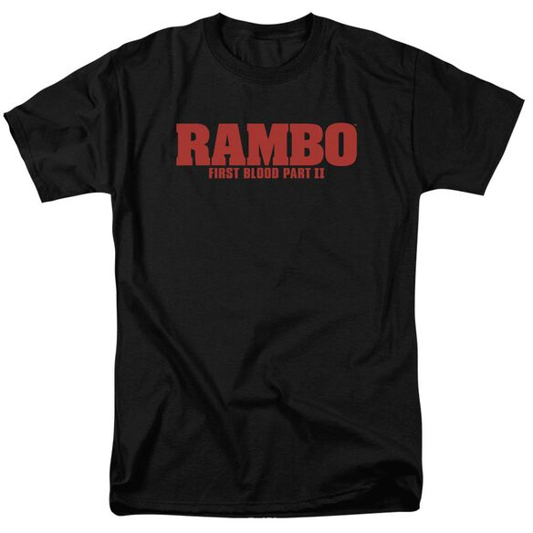 Rambo:First Blood Ii Logo Short Sleeve Adult Black T-Shirt