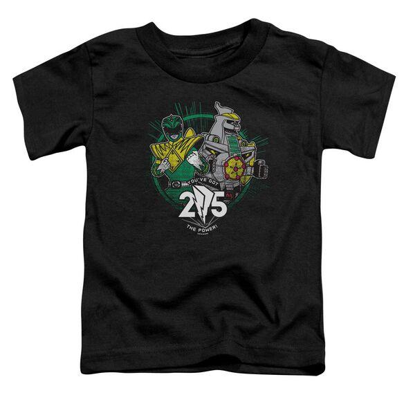 Power Rangers Green 25 Short Sleeve Toddler Tee Black T-Shirt