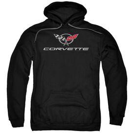 Chevrolet Corvette Modern Emblem Adult Pull Over Hoodie