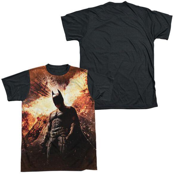 Dark Knight Rises Fire Poster Short Sleeve Adult Front Black Back T-Shirt