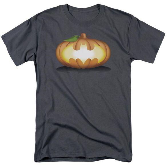 Batman Bat Pumpkin Logo Short Sleeve Adult Charcoal T-Shirt