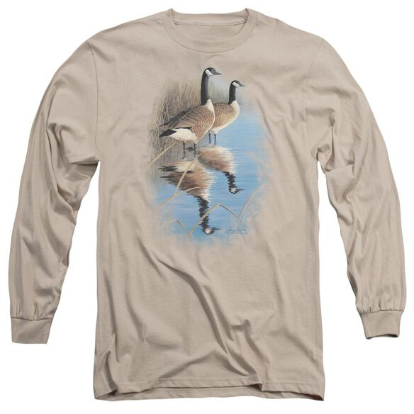 Wildlife Morning Reflections Canada Geese Long Sleeve Adult T-Shirt
