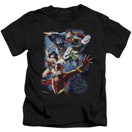 Jla Galactic Attack Color Short Sleeve Juvenile Black T-Shirt