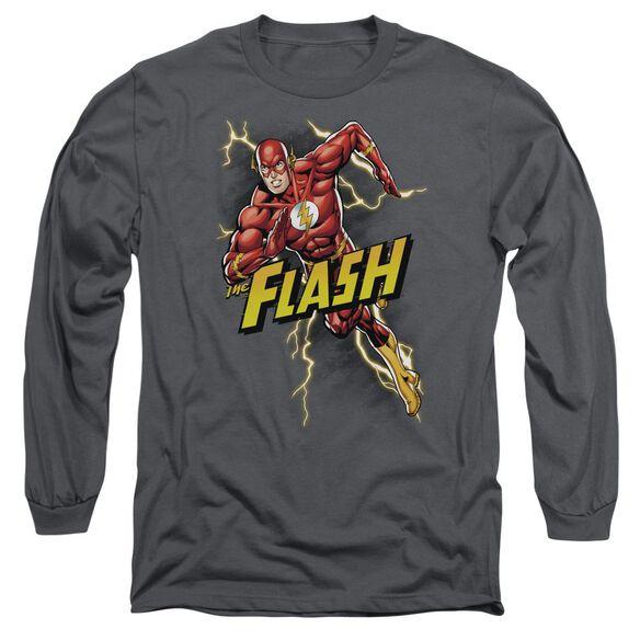 Jla Bolt Run Long Sleeve Adult T-Shirt