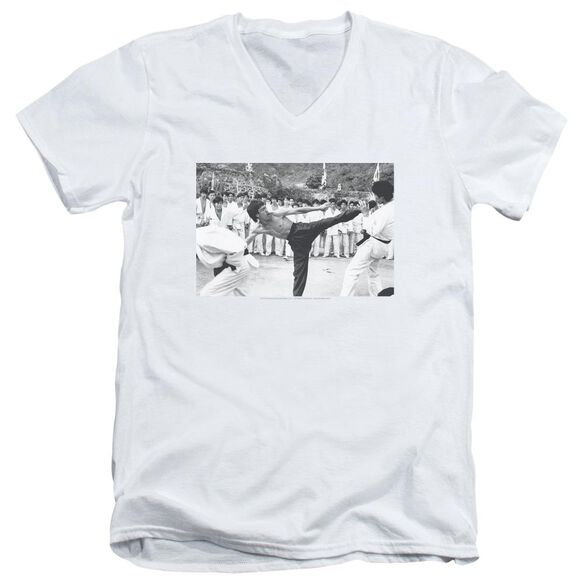 Bruce Lee Kick To The Head Short Sleeve Adult V Neck T-Shirt