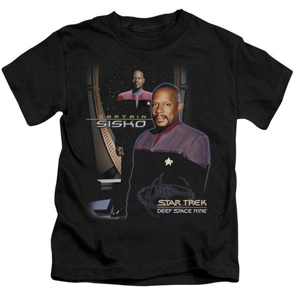 Star Trek Captain Sisko Short Sleeve Juvenile Black T-Shirt