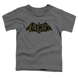 Beware The Batman Logo Short Sleeve Toddler Tee Charcoal T-Shirt