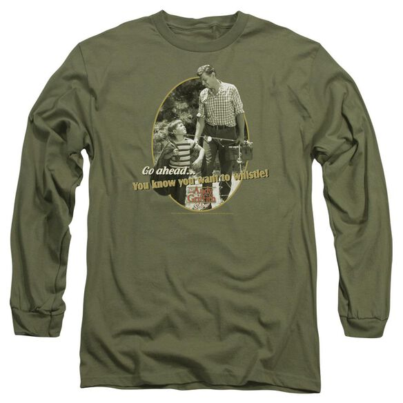 ANDY GRIFFITH GONE FISHING - L/S ADULT 18/1 - MILITARY GREEN T-Shirt