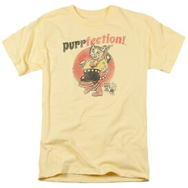Puss N Boots Purrfection Short Sleeve Adult Banana T-Shirt