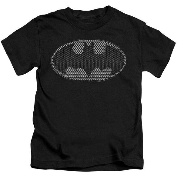 Batman Chainmail Shield Short Sleeve Juvenile Black T-Shirt